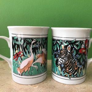 Set of 2 mugs - zebra and birds